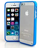 Connect Zone® BLUE CLEAR HARD BACK SILICON TPU BUMPER COVER CASE FOR iPHONE 5/5S/5G + FREE SCREEN PROTECTOR & POLISHING CLOTH