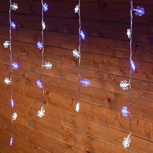 Eiszapfen-Lichterkette 3 x 0,8 m, 94 LED-Kristalle kaltweiss und blau, weisses Kabel
