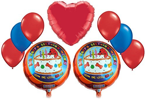 Clifford, The Big Red Dog Cake Birthday Mylar and Latex Balloons Bouquet (9 Pcs) (Clifford Party Supplies compare prices)
