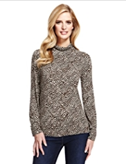 M&S Collection Roll Neck Animal Print Top with StayNEW™