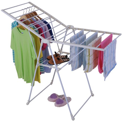 Homcom Foldable Gullwing Clothes Laundry Drying Rack back-65024
