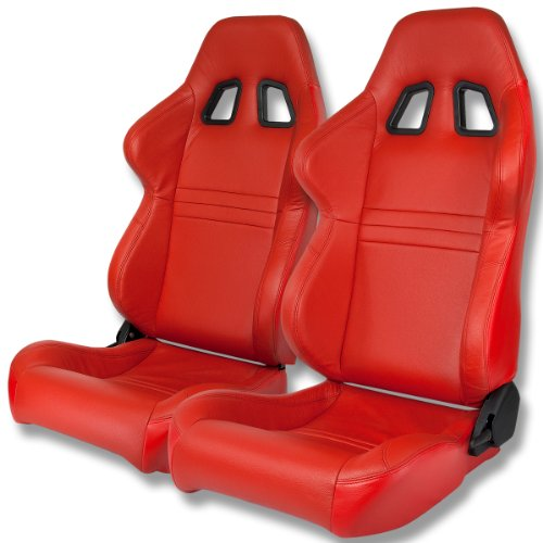 Type-One Style Genuine Leather Sport Universal Racing Seats (Pair of Red)