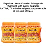 Payodhar: Gandhi Herbal's Keasr Chandan (Kesariya Color) Ashtagandha (Kumkum) Pack Of 50 Grm, 3 Pcs (Powder Form...