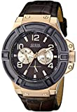 GUESS Men's U0040G3 Rigor Standout Multi-Function Dressy Sport Watch with Genuine Leather Brown Strap & Dial & Rose Gold-Tone Case