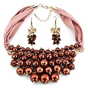 Pugster Bling Jewelry Characteristic Design Brown Pearls Necklace Earrings Set Banquet Pendant