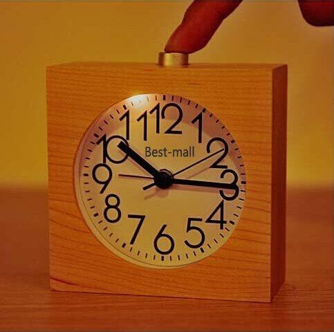 Best-mall Simple Novelty Mini Lounger Snooze Bedside Desktop Mute Maple Wood Alarm Clock With Nightlight(Square Shape)
