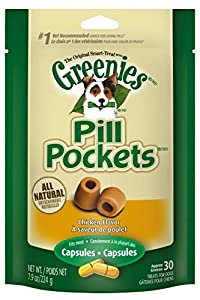 GREENIES PILL POCKETS Original Canine Treats - Chicken Flavor - Capsule Size - 7.9 oz. (224 g) - 30 Count