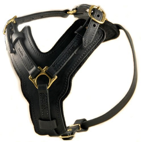 Dean and Tyler The Victory Solid Brass Hardware Dog Harness with Handle, Black, Medium - Fits Girth Size: 23-Inch to 34-Inch (Dean Tyler Harness Medium compare prices)