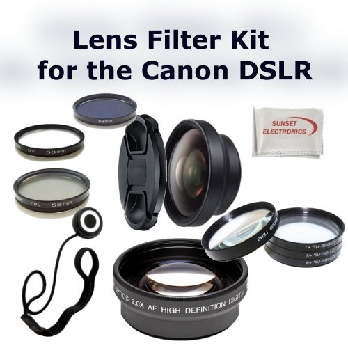 Digital Accessory Kit For Canon Rebel XS (EOS 1000D), XSi (EOS 450D) Digital SLR Cameras: Includes- Wide Angle Lens, Telephoto Lens, Lens Cap, 7 Piece Filter Set(UV-CPL-FLD + 4 Macro Filters – +1,+2,+4,+10), Lens Cap Keeper and a Cleaning Cloth. (Works with Any Of The Following Canon Lenses: 18-55mm, 75-300mm, 55-250mm, 50mm 1.4)