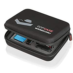 Wicked Chili GOP Case for GoPro Hero 3+ / 3 / 2 / 1 Camera Case, Packing, LCD Backpack, Battery, SD Card, WiFi Remote, Floaty Backdoor and Accessories (Size Medium, Black, with Utensil Compartment and Carrying Strap)