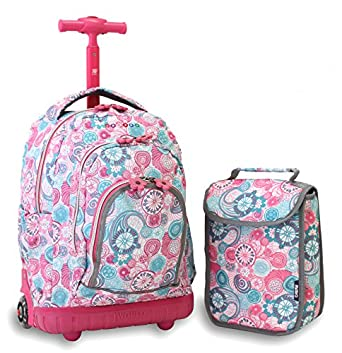 J World New York Lollipop Kids' Rolling Backpack with Lunch Bag, Blue Raspberry, One Size