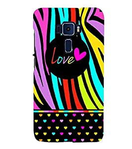 love sign in multicoloured zebra stripes pattern 3D Hard Polycarbonate Designer Back Case Cover for Asus Zenfone 3 Deluxe ZS570KL::Asus Zenfone 3 Deluxe (5.7 INCHES)
