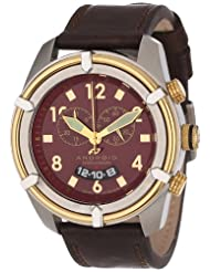 Android Naval-2 AD466BGBR 48MM Swiss Quartz Chronograph Analog Red Dial Men's Brown Leather Watch