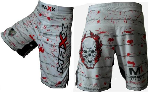 MAX Flex Pro White Boxing Fight Shorts UFC MMA K1 Cage Fight Wasit 30-32-small