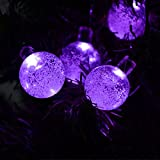 LED SopoTek Solar Outdoor String Lights 6Meters 19.7ft 30LED Purple Crystal Ball Solar Powered Globe Fairy Lights for Garden Fence Path Landscape Decoration (30 LED Purple)