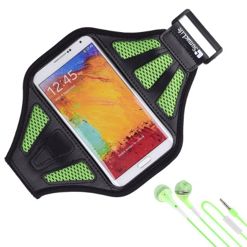 Sumaclife Armband - Lime Green Sport Workout Neoprene Mesh W/ Earphone Holder For Samsung Galaxy Note 3 & 2 Android Phone + Green Handsfree Microphone Headphones