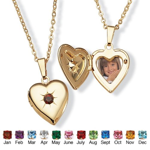 PalmBeach Jewelry Goldtone Birthstones Simulated Heart Locket- January- Simulated Garnet