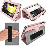 """igadgitz Rosa 'Portfolio' Eco-Piel Funda Case Cover para HP Slate 7 2800 2801 7"""" Android Tablet. Con Correa de mano integrado.+ Protector de Pantalla."""