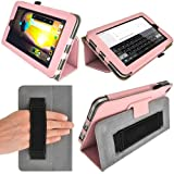 IGadgitz Premium Folio Pink PU Leather Case Cover for HP Slate 7 2800 2801 With Hand Strap + Multi Angle Viewing Stand + Screen Protector