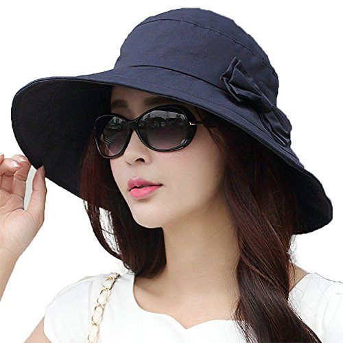 Siggi Womens Summer Bucket Boonie UPF 50+ Wide Brim Sun Hat Cord Cap Beach Accessories Navy, OS (Uv Protection Hat compare prices)