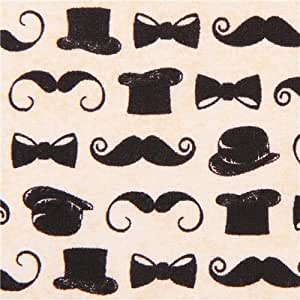 Amazon.com: cream mustache and tophat fabric by Andover USA (per 0.5