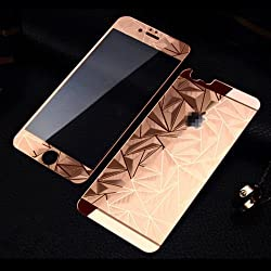Ecom 3D Diamond Pattern Front + Back Tempered Glass For iPhone 4S,4 (Rose Gold)