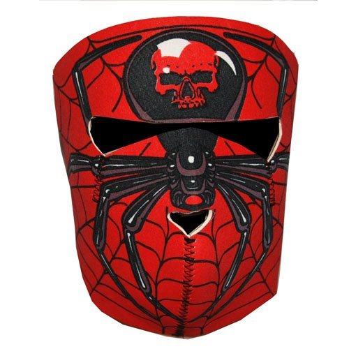 Biker Motorcycle Neoprene Full Face Mask Red Spider Skull