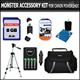 """8GB Accessory Kit For CANON POWERSHOT SX160 IS SX160IS SX20 IS SX20 SX1 IS SX130IS SX130 IS SX150IS SX150 IS Camera Includes 8GB Secure Digital High Capacity (SDHC) Card + Carrying Case + AA Battery & Charger Set + LCD Screen Protectors + 50"""" Tripod +More"""