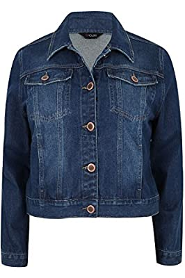 Yoursclothing Plus Size Womens Indigo Denim Western Jacket With Long Sleeves