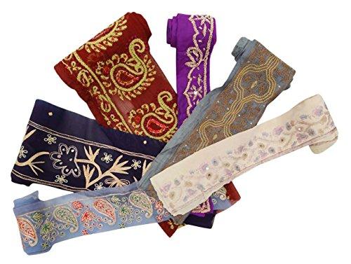 lote-6-de-la-vendimia-de-sari-indio-borde-bordado-recorte-multicolor-cinta-del-cordon-1yd