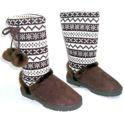 Odeon Womens Lb8976tt2a Brown Mid Calf Pom Pom Snowflake Walking Boots