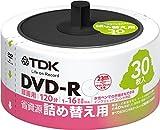 TDK 録画用DVD-R CPRM対応 省資源 詰め替え用 30枚入り リフィルパック 16X インクジェットプリンタ対応(ホワイト・ワイド) DR120DPWC30RF