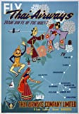 TX310 Vintage 1950's Thai Airways Thailand Orient Travel Poster Re-Print - A4 (297 x 210mm) 11.7