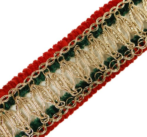 Red Green Metallic Braid Trim Thread Cord Border Lace Sewing Crafted Ribbon India 4.5 Yd