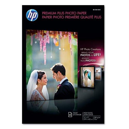 Hp - Premium Plus Photo Paper, 75 Lbs., High-Gloss, 11 X 17, 25 Sheets/Pack Cv065A (Dmi Pk