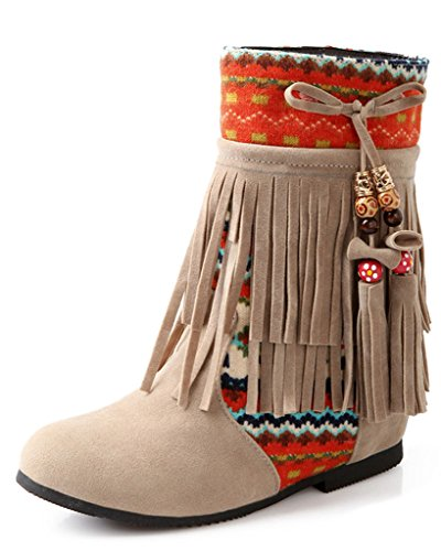 Minetom Donna Inverno Tassel Neve Stivali Snow Boots Stivali Cavaliere Antiscivolo Scarpe Beige EU 43