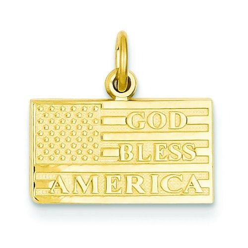 14K Gold God Bless America USA Flag Charm Pendant