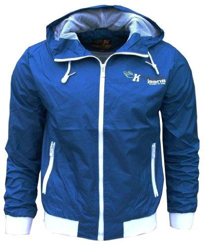K20 Jeans Orbit Men's Lightweight Sports Rain Wind Jacket Logo royal blue / white Small