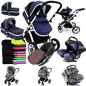 i-Safe System - Navy Trio Travel System Pram & Luxury Stroller 3 in 1 Complete With Car Seat + Footmuff + Carseat Footmuff + RainCovers by iSafe