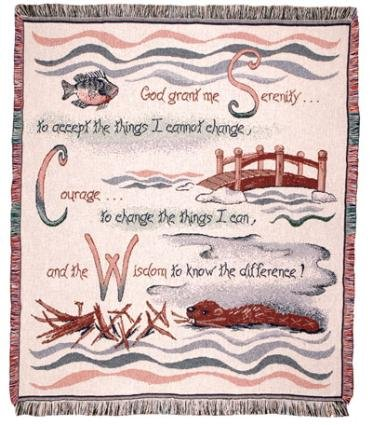 "Serenity Prayer Nature Inspired Afghan Throw Blanket 50"" X 60"" front-905454"