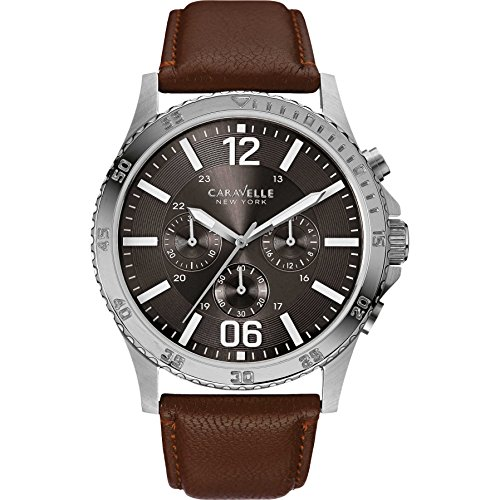 Caravelle New York Mens 43A128 Chronograph Military brown Leather Strap Watch