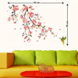 StickersKart Wall Stickers Humming Bird and Pink Blossoms (Multi-Colour, 95cm...-5729
