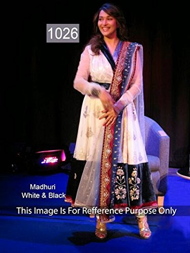 Suitsvilla Madhuri Dixit In White And Black Georgette Anarkali Suit