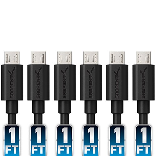 Sabrent [6-Pack] 22AWG Premium 1ft Micro USB Cables High Speed USB 2.0 A Male to Micro B Sync and Charge Cables [Black] (CB-UM61) (1 Feet compare prices)