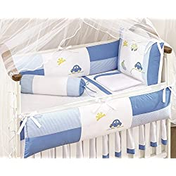 Car Themed Blue and White Baby Boys 10 Pcs Nursery Crib Set Embroidered