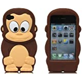 niceEshop(TM) Brown 3D Cartoon King Monkey Soft Silicone Case Cover for Apple iPhone4/4S +Screen Protector