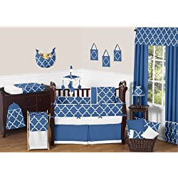 Modern Blue and White Trellis Unisex Baby Bedding 9 Piece Lattice Print Girl or Boy Crib Set