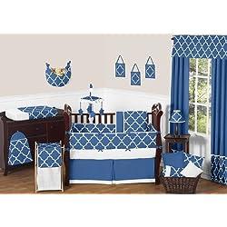 Modern Blue and White Trellis Unisex Baby Bedding 9 Piece Lattice Print Girl or Boy Crib Set