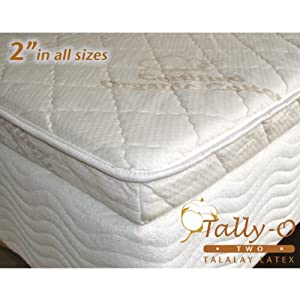 Amazon Com 2 Inch Pure 24 Ild Talalay Latex Mattress Topper With Organic Cotton Cover In Cal