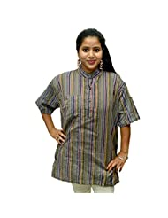Odishabazaar Women's Grey Cotton Stripe Short Kurti